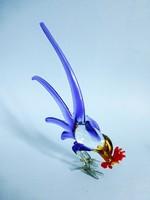 Muranoi üveg kakas,madár figura,szobor. Gyönyörű,színpompás nagyméretű darab!