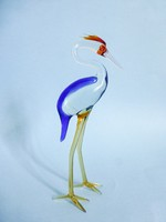 Muranoi üveg kócsag,madár figura,szobor. Gyönyörű,színpompás nagyméretű darab!
