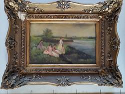 Folyóparton asszonyokkal, Olaj farost jeloletlen festmeny