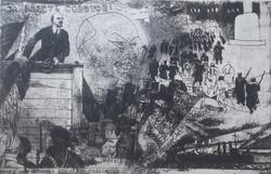 Würtz Ádám: Lenin a nagy októberi szocialista forradalom vezére, 1917 (rézkarc 40x28 cm, 1970)