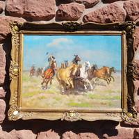 János Viski: restored to a high standard, oil, canvas, painting. Horses on Hortobágy. Blondel