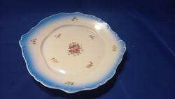 Rózsás,  virágos, Inda mintás kék szélű  tál tányér kínáló