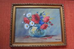 RÉGI szignózott, igen jó kvalitású mezei csokor csendélet festmény,eredeti faragott keretében.n.