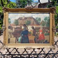 Imre Halápy-Németh: melon fair. Oil on canvas, life picture. Antique, elite picture frame.