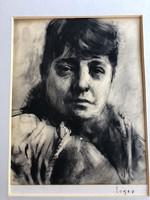 Eigel István - Jászai Mari portréja (szénrajz)