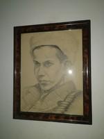 Ék Sándor - Katonafiú portréja - eredeti alkotás, 1 forintról! Kiárusítás!!!