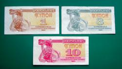 Ukrajna - 1 - 3 és 10 kupon - 1991 – 3 db-os Karbovanec Bankjegy lot