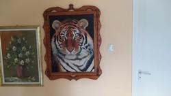 Tigris festmény, saját egyedileg készített keretében