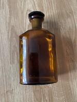 Antik gyógyszeres barna üveg csiszolt dugóval