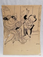 Balogh Páter karikatúra tusrajz