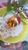 Karácsonyfadísz, üveg, régi, gerezdes szines gömb