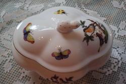HERENDI, különleges cakkos öblös formájú,Rothchild mintás bonbonier,nyuszi fogóval.