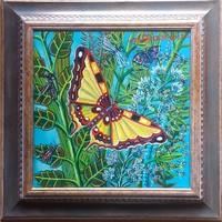 Galambos Tamás - Sárga pillangó 30 x 30 cm olaj, vászon, keretezve