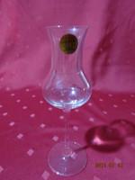 Talpas üvegpohár, olasz kristály pálinkás pohár, magassága 17 cm.