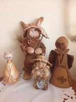 Szalma figurák, bábuk. 14-31 cm-ig.