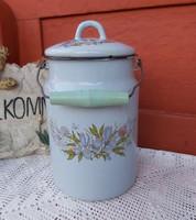 Gyönyörű  virágos  Zománcos virágos tejeskanna kanna, nosztalgia darab, paraszti dekoráció