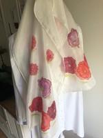 Kézzel festett silk, selyem sál, kendő 120*35cm