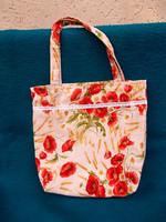 Új pipacsos vászon táska. 40x40x10 cm.