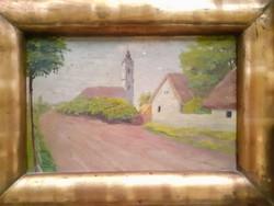 Utcakép templommal keretben, régi olaj-fa, ismeretlen