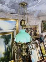 Antik petróleumlámpa törzsű Luster lámpa,Gyönyörű bécsi barokk réz vagy bronz tartókkal