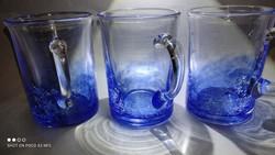 Karcagi repesztett füles pohár három darab együtt