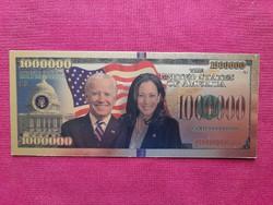Új - színes + aranyozott, Joe Biden és alelnöke Kamala Harris 1millió $ fantázia bankjegy. 1 ft-ról
