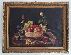 JOBBÁGYI-HOMOLYA JENŐ olajfestmény 4 - Asztali gyümölcs csendélet