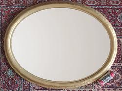 OVÁLIS NAGY TÜKÖRKERET- Régi nagyméretű farostra festett olaj csendélet ovális festmény