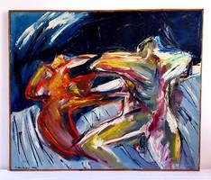 El Kazovszkij (1948-2008) - Kapcsolat 1969 olajfestmény 120x100cm