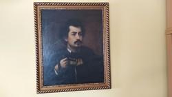 Igazi kuriózum Madarász Viktor önarcképének másolata (hátulján szöveg) festmény !