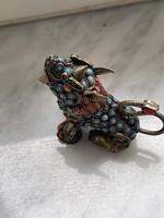 Antik Kinai amulett valódi korall és türkisz kő berakással foó kutya