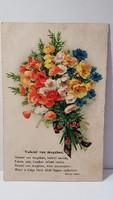 Régi pipacs csokor, virágos képeslap, üdvözlőlap, levelezőlap 1932