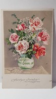 Régi rózsa virágos képeslap, üdvözlőlap, levelezőlap 1933