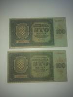 Eladó 2 db 100 Kuna 1941 es bankjegy