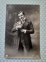 Régi férfi fotó képeslap 1914 vintage levelezőlap