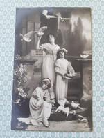 Régi fotó képeslap 1916 lányok galambok vintage levelezőlap