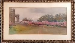 Bécsi Dorotheumban szerepelt! Katalógus.! Antik akvarell! Onorato Carlandi (1848-1939) !46x78cm!