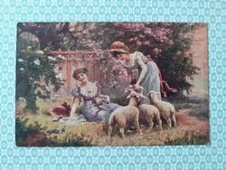 Régi képeslap hölgyek bárányokkal tavaszi tájképes levelezőlap