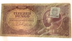 Tízezer pengő zöld bélyeggel, fóliázva