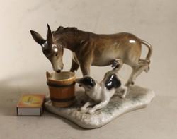 Porcelán szamár kutyával 927