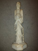 7,8 kg, 55 cm teljes magas, Konfuciusz szobor, zsírkő, keleti kézzel faragott szobor, hibátlan
