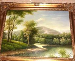 Gyönyörű antik tájkép blondelkeretben  áron alul Végkiárusítás