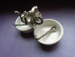 Ritka porcelán & ónötvözet polip sótartó / fűszertartó & 2 kanállal