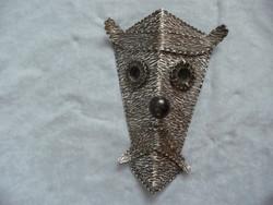 Retro iparművész falidísz dombormű iparművészeti dísztárgy fali maszk 60 as 70 es évek busó maszk