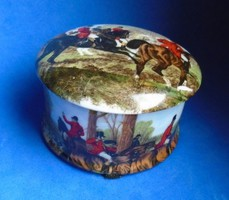 Hibátlan antik Royal Staffordshire angol porcelán bonbonier vadászati jelenet vadász