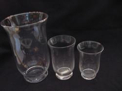 Hurrikán mécsestartó, váza , dekor üveg trió