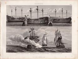 L'Invincible, Glorioso, egyszín nyomat 1875 (4), német, Brockhaus, eredeti, hadihajó, sorhajó, hajó