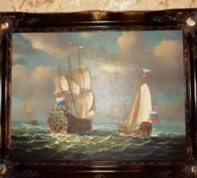 Gyönyörű hajós olajfestmény áron alul Végkiárusítás minden festmény -50%