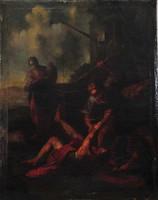 Antik festménypár, 18. század, Bibliai jelenetekkel, eredeti állapotban