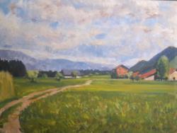 Svájci táj, H. Nyffenegger (1895-1968) szignózott olajfestménye - tájkép hegyekkel, házakkal